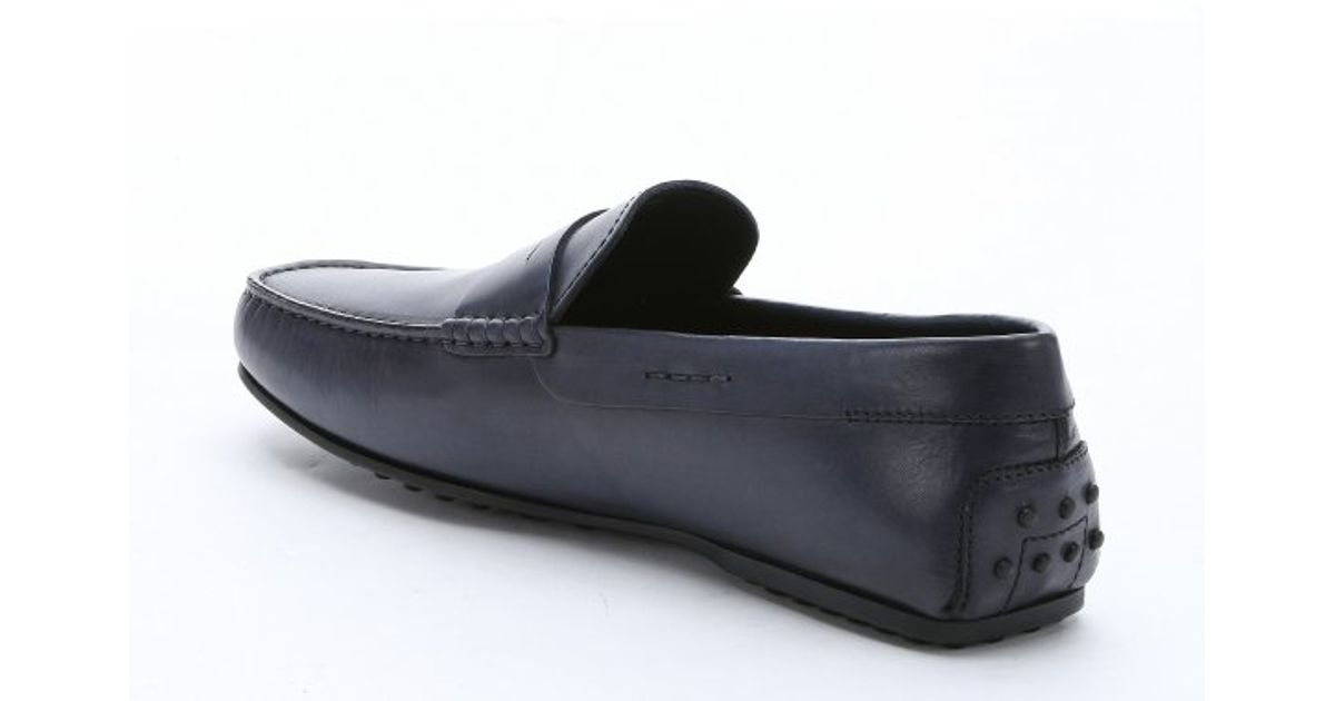 Tods navy navy leather city moc toe penny driving loafers blue product