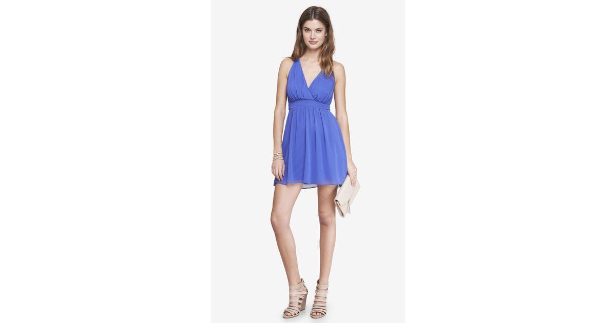 1fe2ca5d35 Lyst - Express Blue Chiffon Crisscross Babydoll Dress in Blue