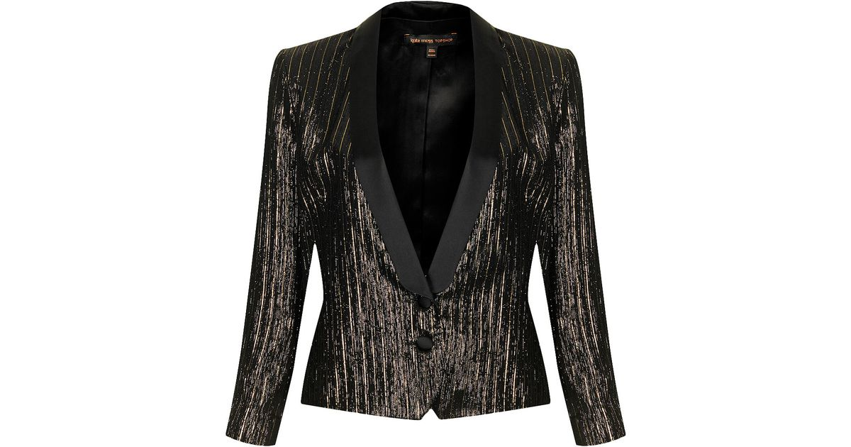 Lyst Topshop Womens Lame Tuexdo Suit Jacket By Kate Moss For Gold