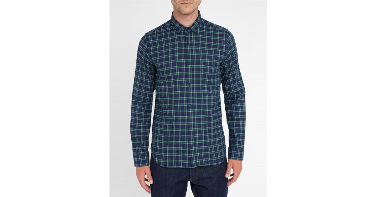 Armand checked monti fabric flannel slim fit for Women s slim fit flannel shirt