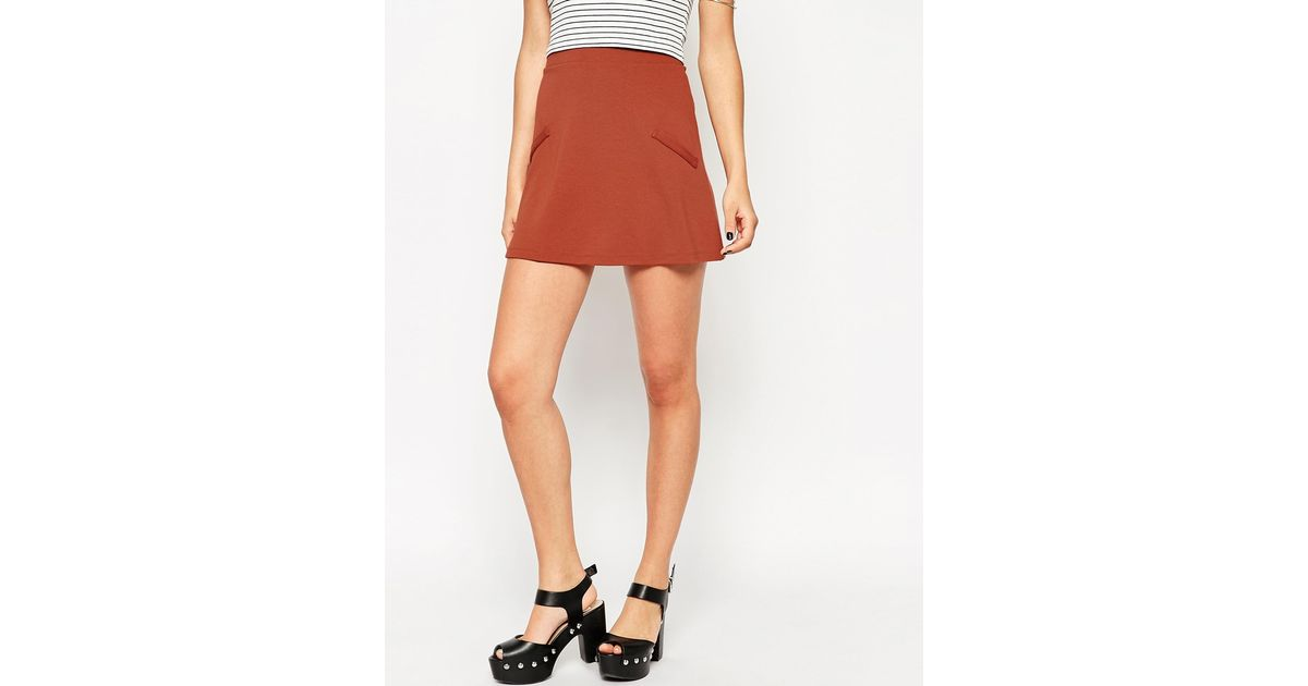 asos a line skirt in ponte with pockets in brown rust lyst