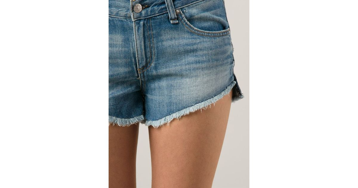 Rag & bone Cut Off Denim Shorts in Blue | Lyst