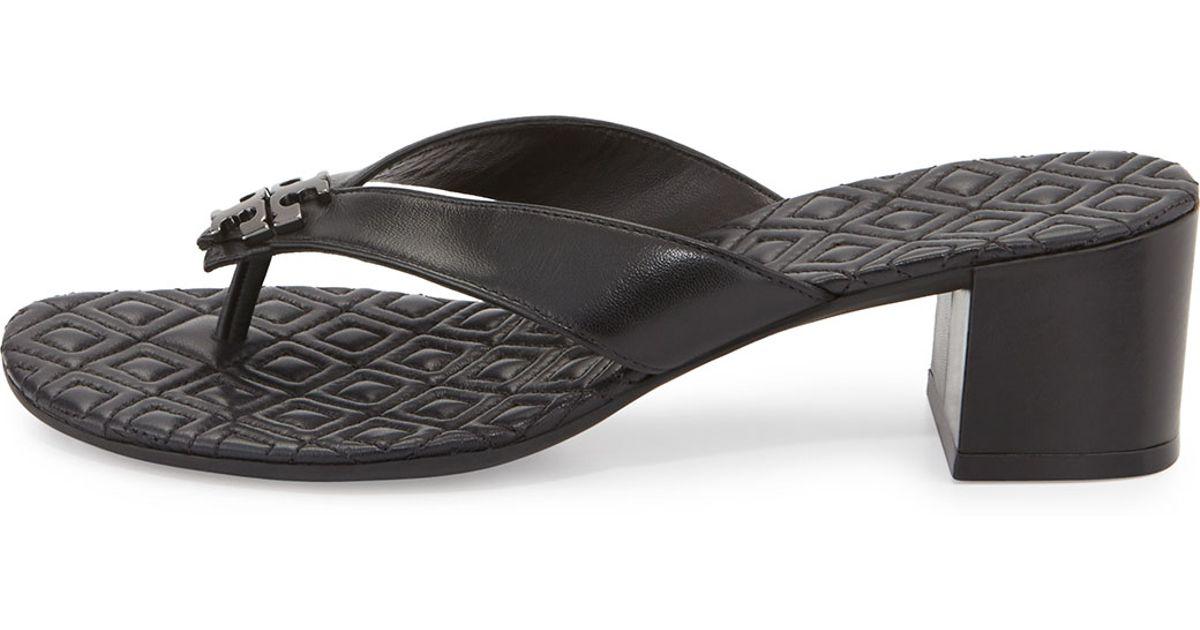 3728dff31 Lyst - Tory Burch Maybell Block-heel Thong Sandal in Black
