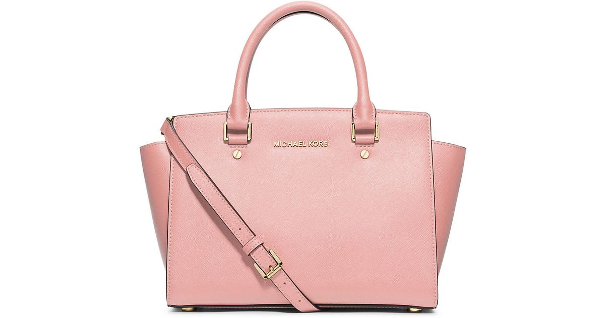 03cc5c353ff985 ... inexpensive lyst michael michael kors selma medium leather satchel in  pink 9c8ad 63e21