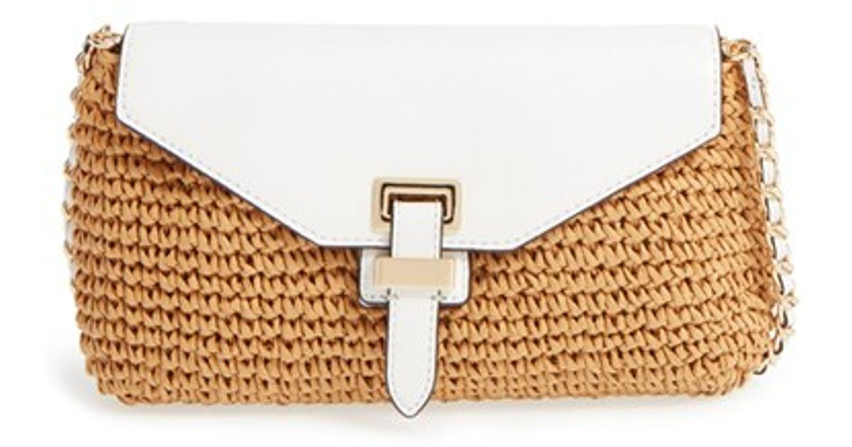 a118ae01b2cc MICHAEL Michael Kors 'large Naomi' Straw & Leather Clutch in Brown - Lyst