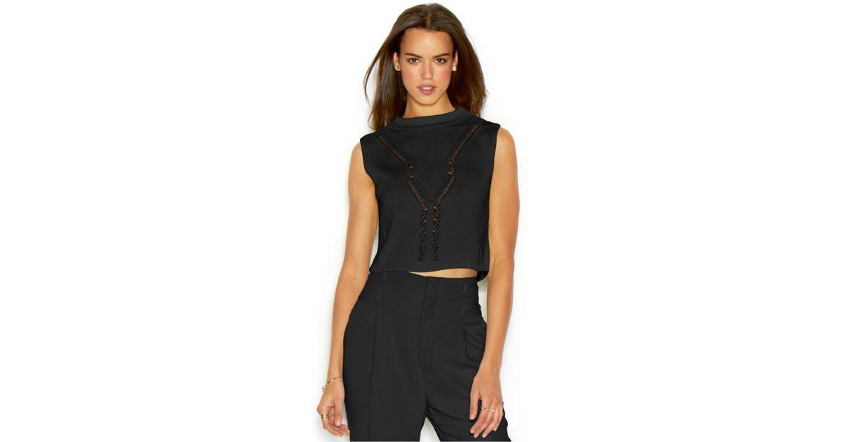 d1a7eb3805c52 Lyst - RACHEL Rachel Roy Sleeveless Mock-Turtleneck Knit Cropped Top in  Black