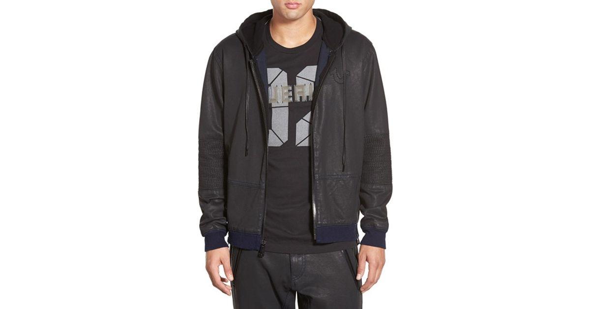 935b04ef8 True Religion Coated Moto Zip Hoodie in Black for Men - Lyst