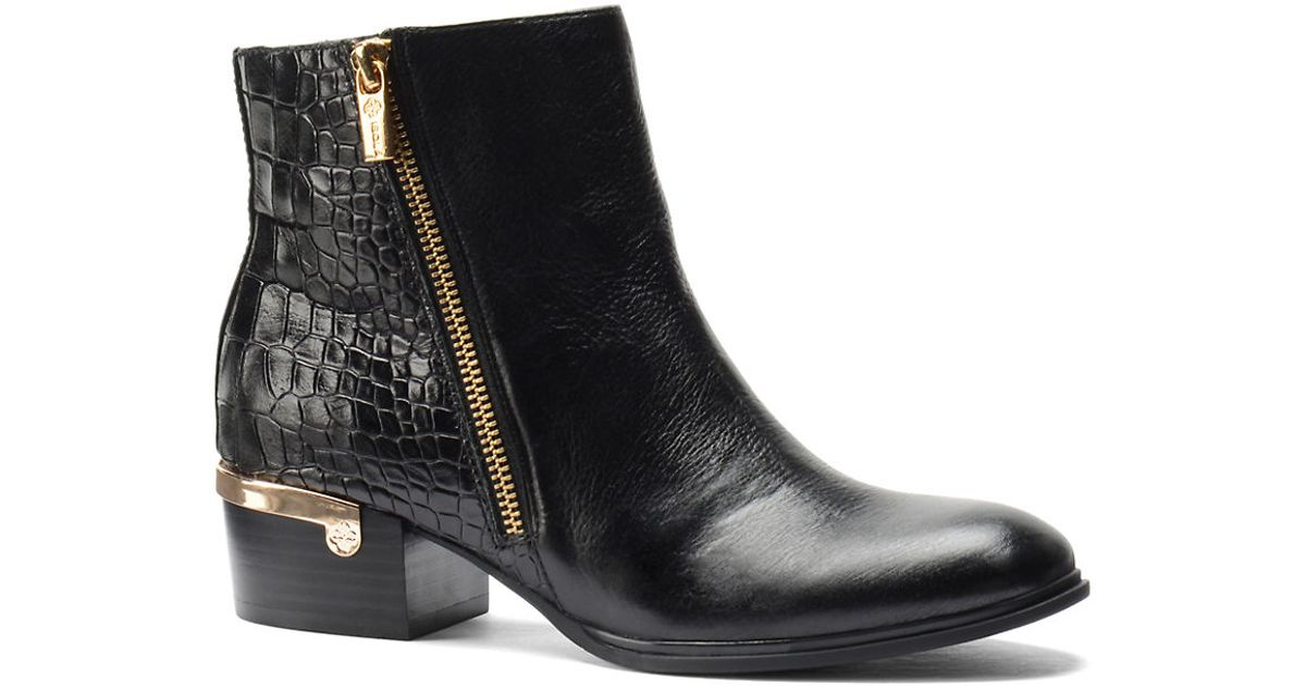 isola daylin croc embossed leather ankle boots in black lyst