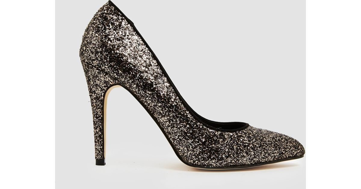 Lyst - Miss Kg Carrie Gold And Black Glitter Heeled Pumps in Metallic 877db173ec