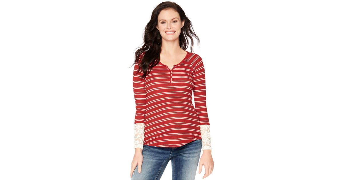 04af5ec533057 Wendy Bellissimo Maternity Lace-sleeve Henley Top in Red - Lyst