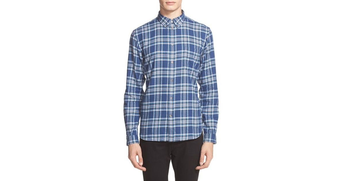 Paul smith trim fit plaid flannel shirt in blue for men lyst for Trim fit flannel shirts