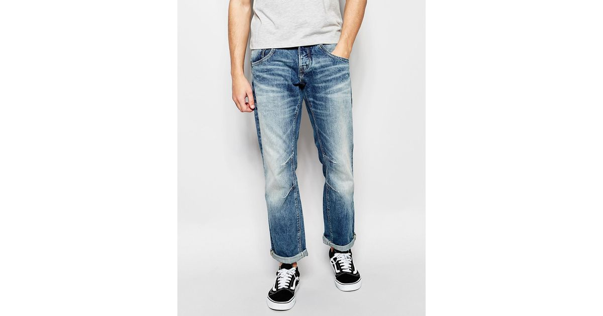 jack jones authentic wash jeans in loose fit in blue for. Black Bedroom Furniture Sets. Home Design Ideas