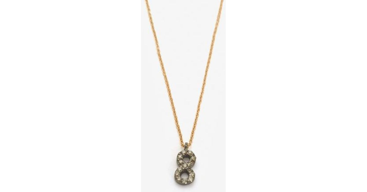 Lyst kismet by milka pave diamond number 8 necklace in metallic aloadofball Choice Image