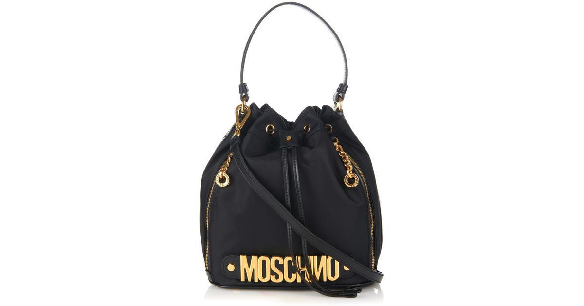 969930bb6f Moschino Lettering Leather And Nylon Bucket Bag in Black - Lyst