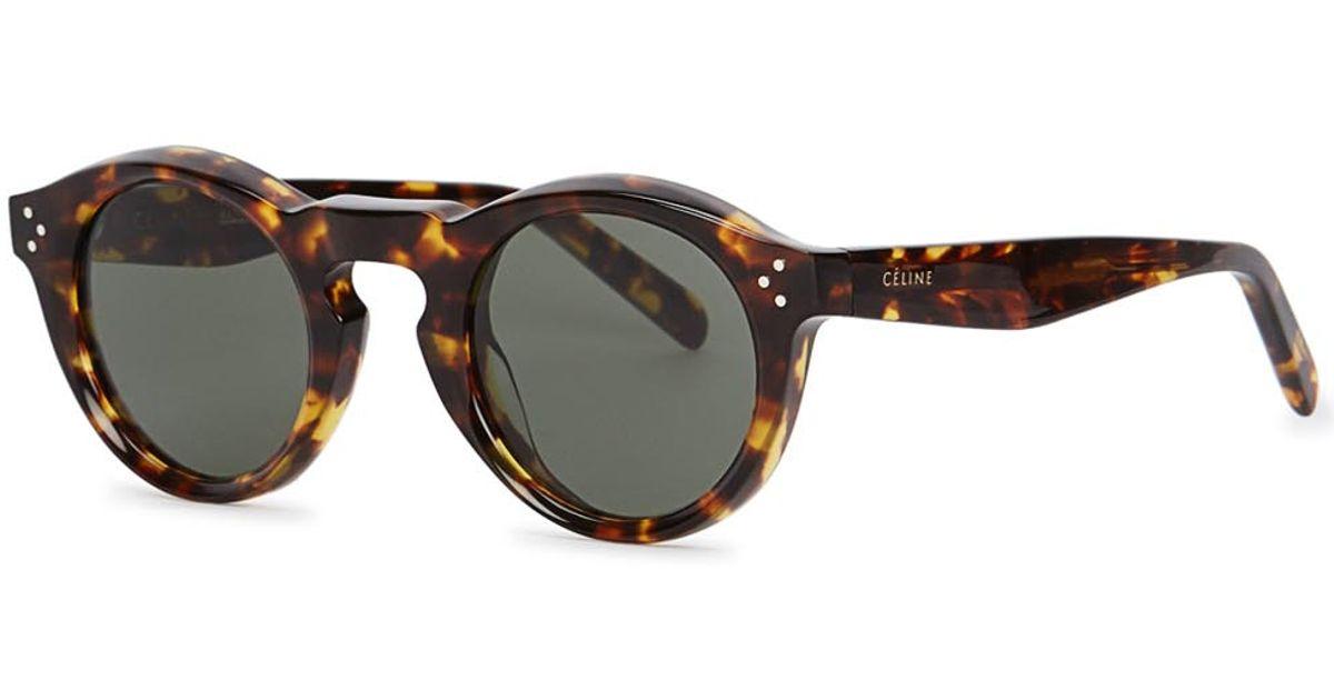 eeb9c1b47c Céline Bevel Toiseshell Round-frame Sunglasses - Lyst