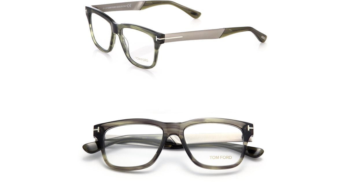 8e6aff8d7529 Lyst - Tom Ford 52mm Square Acetate   Metal Optical Glasses in Gray