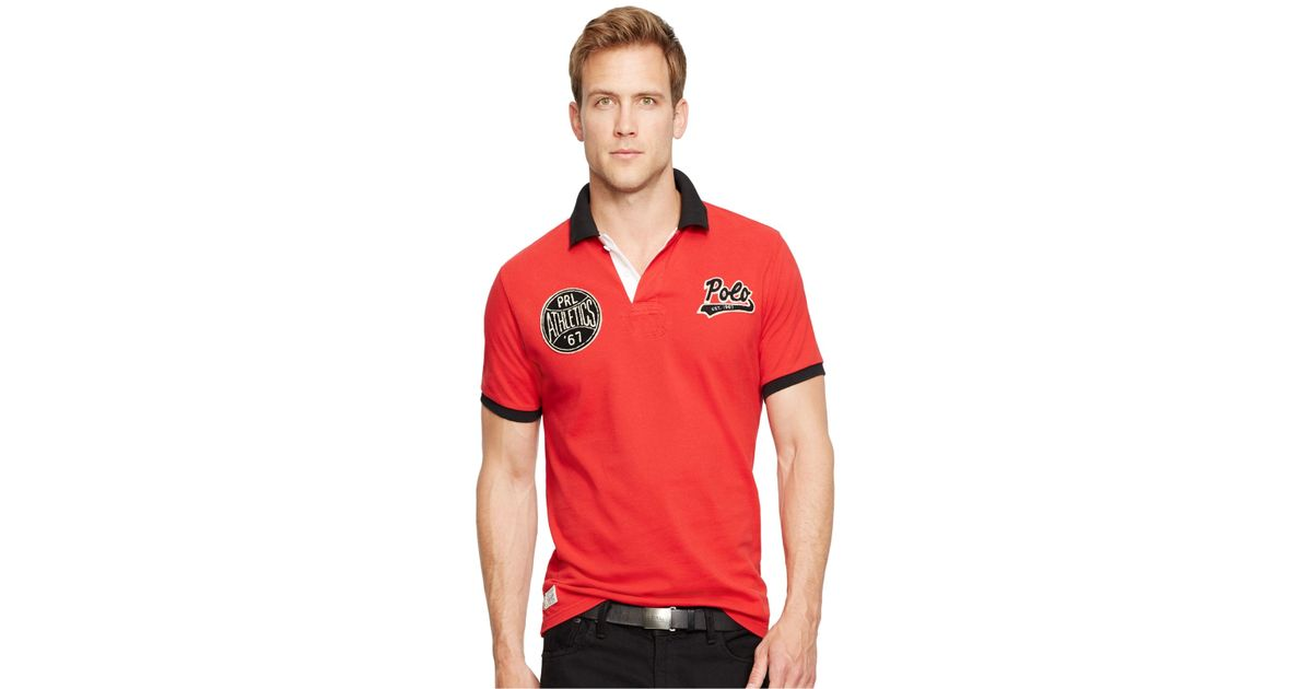 polo ralph lauren custom fit athletics mesh polo in red for men rl 2000 red lyst. Black Bedroom Furniture Sets. Home Design Ideas