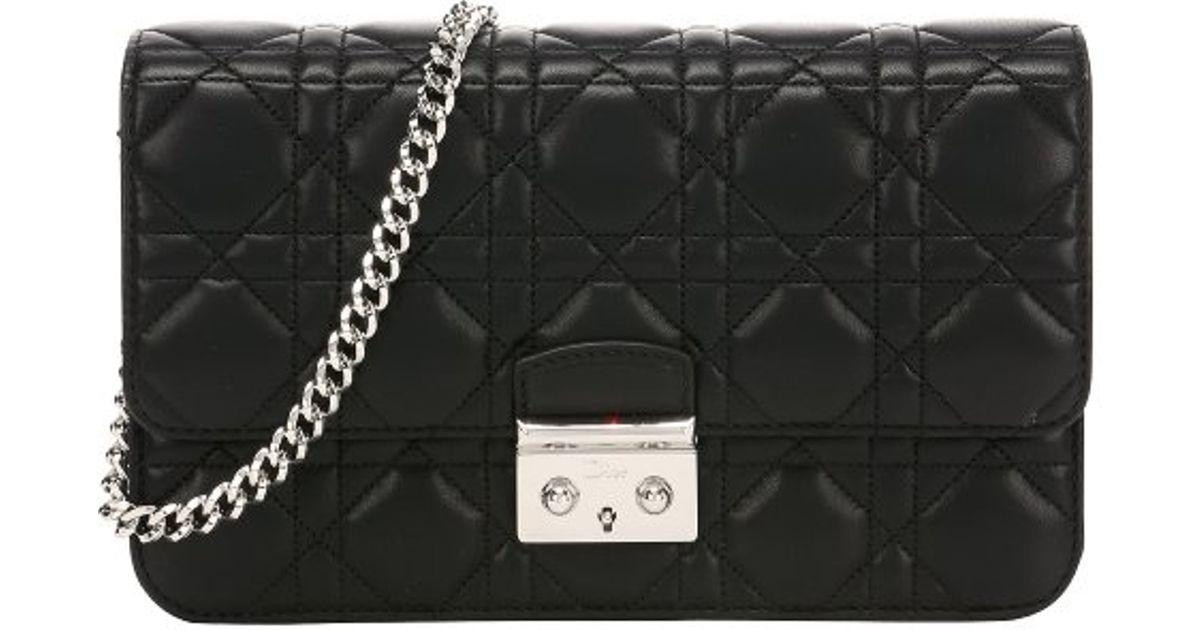 Lyst Dior Black Cannage Leather Miss Flap Front Shoulder Bag In