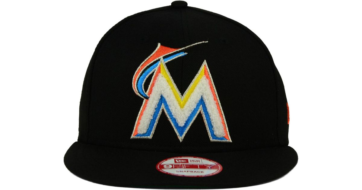 582a39f7798 ... ebay lyst ktz miami marlins the letter man 9fifty snapback cap in black  for men e81c2