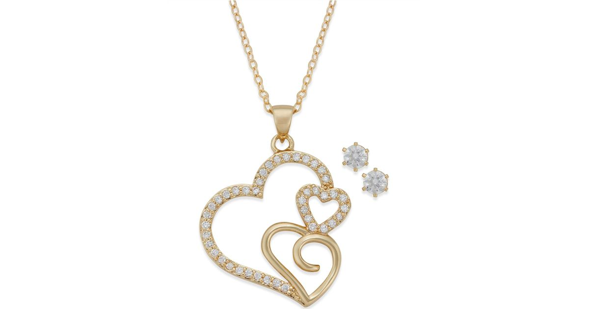 Lyst city by city gold tone crystal triple heart pendant necklace lyst city by city gold tone crystal triple heart pendant necklace and stud earrings set in metallic aloadofball Images