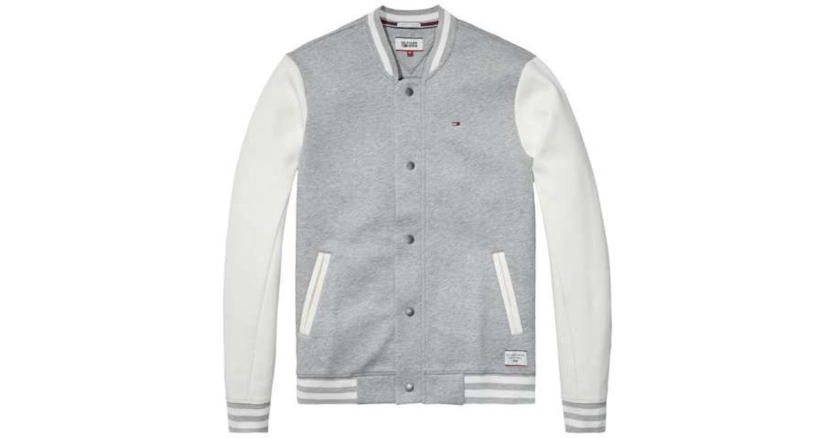 Tommy hilfiger Neopreen Baseball Jacket in Gray for Men | Lyst