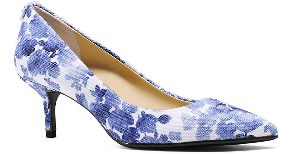 Michael michael kors Floral Kitten Pumps in Blue | Lyst