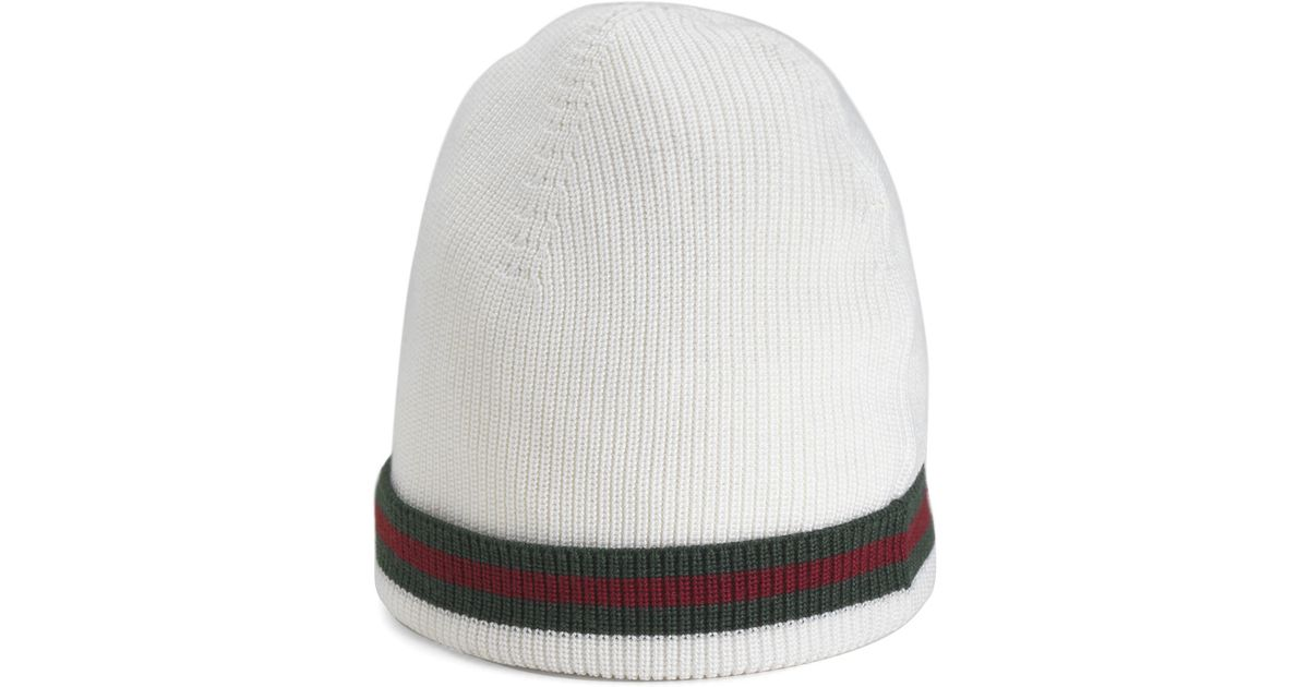 4df55bb0f004 Lyst - Gucci Crook Knit Hat in White for Men