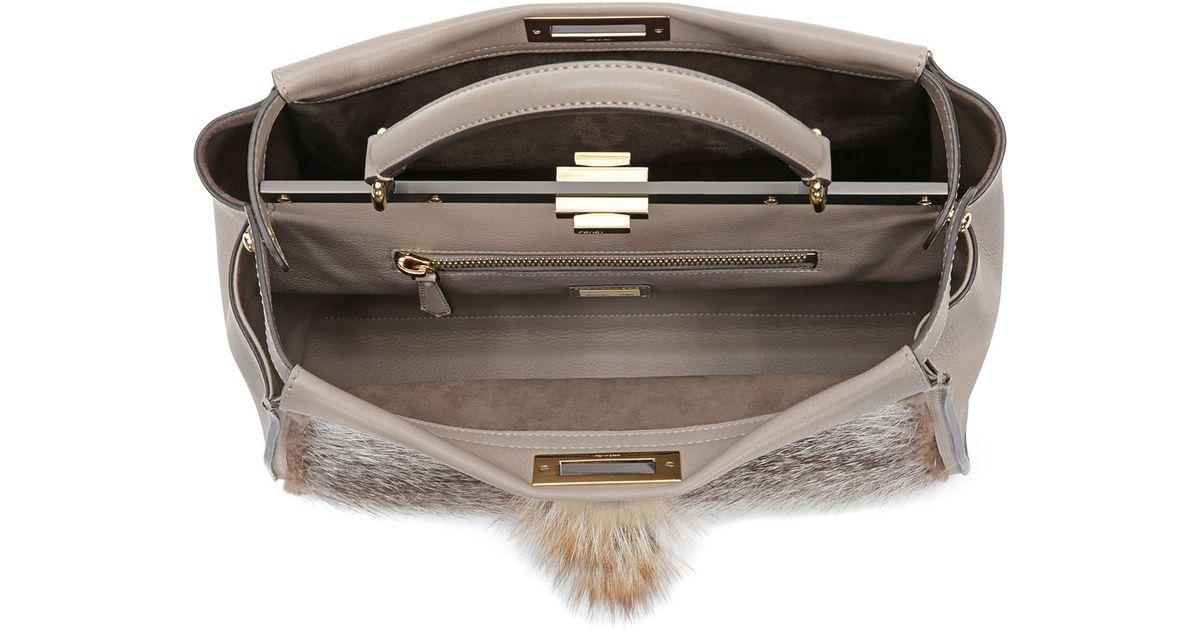 7c05901bfd6 Fendi Peekaboo Large Fur Tote Bag in Brown - Lyst