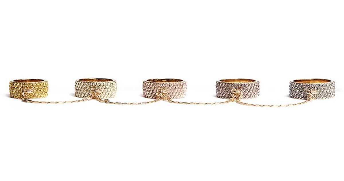 06cd77648998 Lyst - Eddie Borgo Pavé Five Finger Ring in Metallic