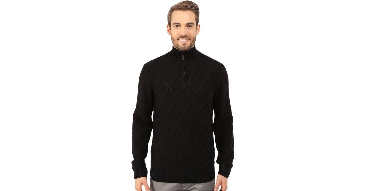 1d89160c04 Lyst - Perry Ellis Diamond Stitch Quarter Zip Sweater in Black for Men