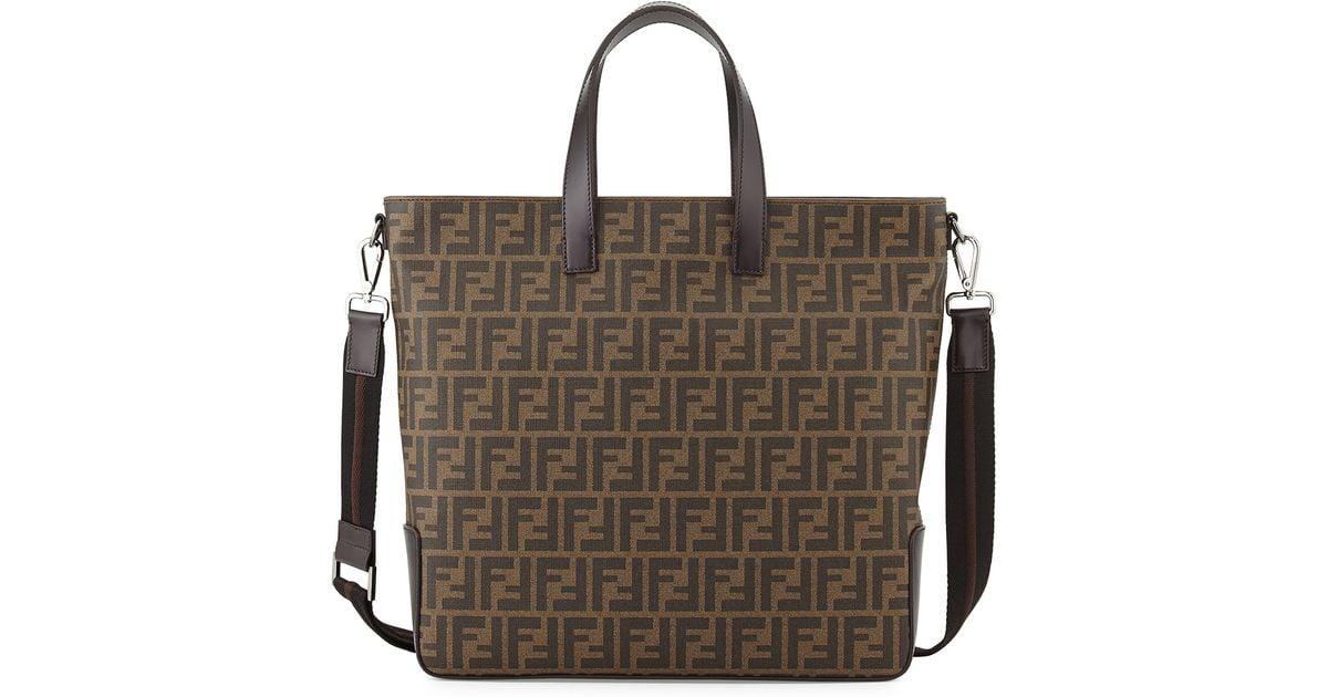 7272694a2f3f ... discount code for lyst fendi mens zucca canvas tote bag in brown 4fbf2  6a291