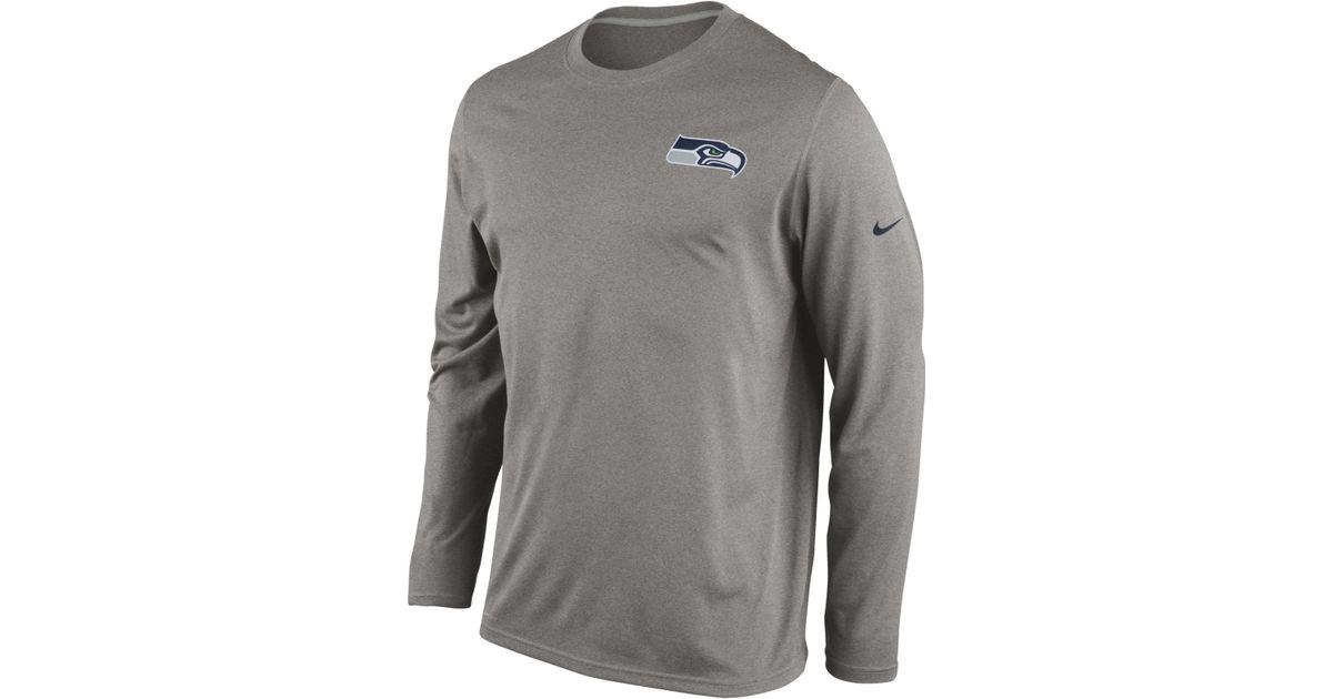06ca2473 ... discount lyst nike mens long sleeve seattle seahawks dri fit t shirt in  gray for men