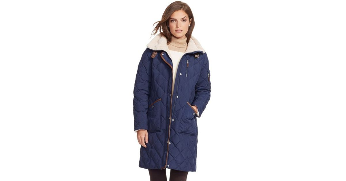 c15167fad75b Lauren by Ralph Lauren Faux Shearling Trim Quilted Down   Feather Fill Coat  in Blue - Lyst