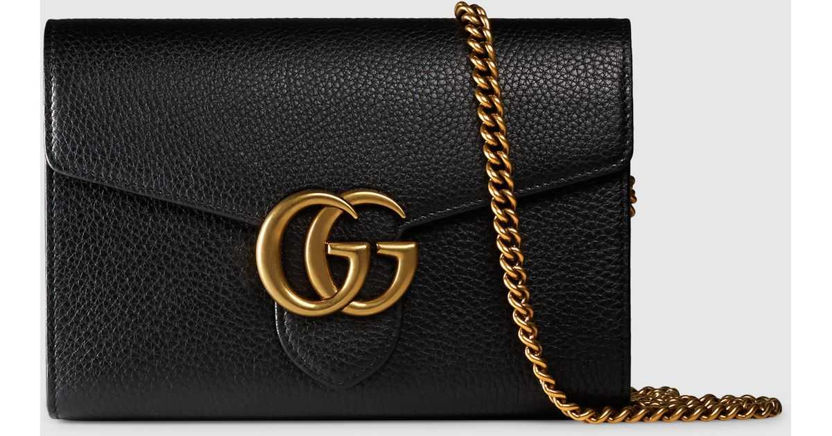 eb8ce854349 Lyst - Gucci Gg Marmont Leather Chain Wallet in Black