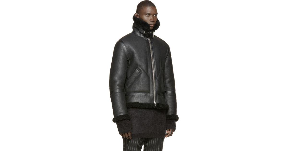 4bbeb25f1255f Lyst - Acne Studios Black Shearling Ian Jacket in Black for Men