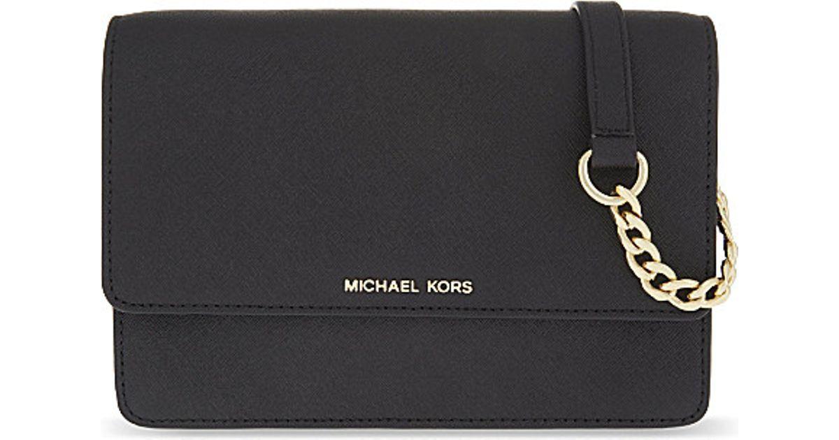 c55f8815c143 Lyst - MICHAEL Michael Kors Daniela Small Leather Cross-body Bag in Black