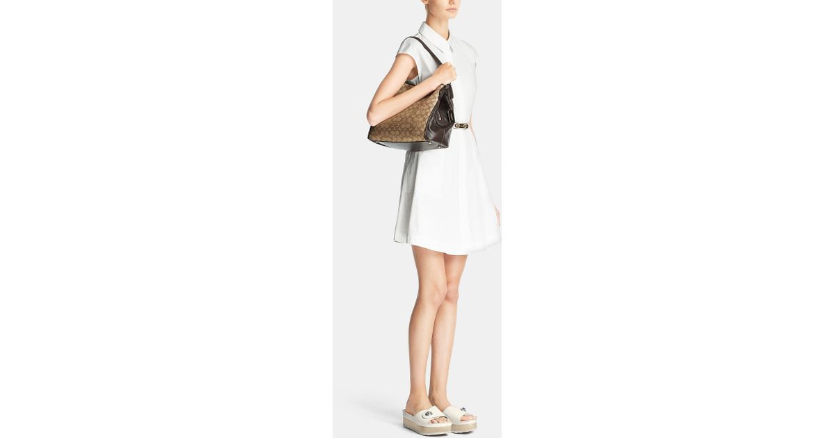 5a5f57232d Lyst - COACH Edie Shoulder Bag 31 In Signature Jacquard in Metallic