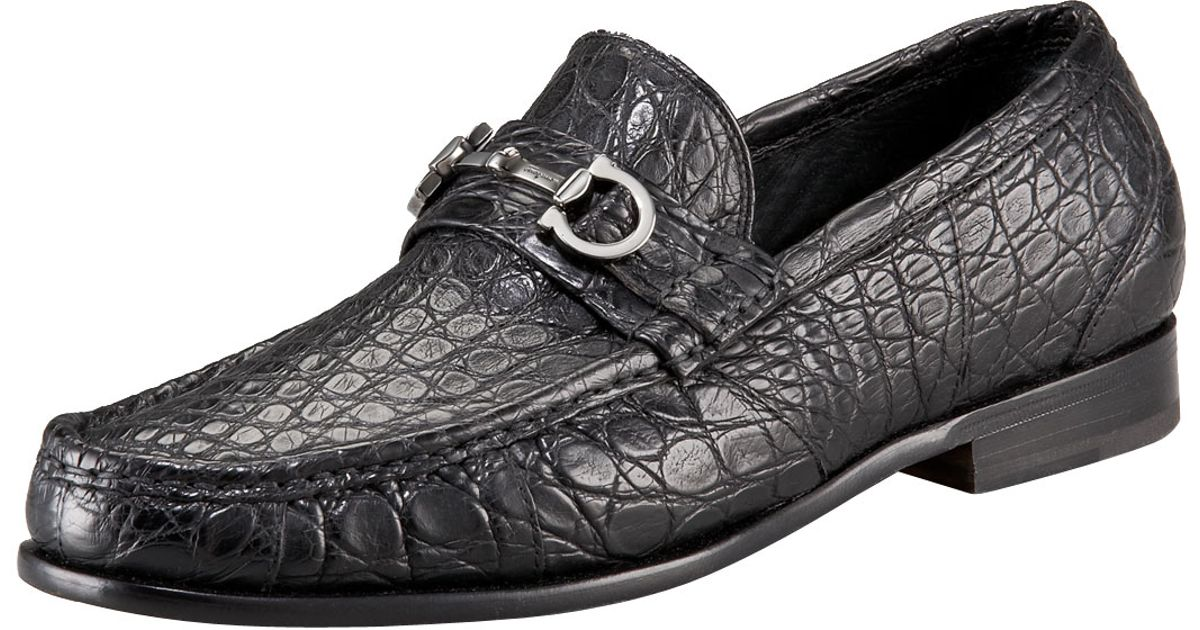 Ferragamo Giostra 3 Crocodile Bit Loafer In Black For Men