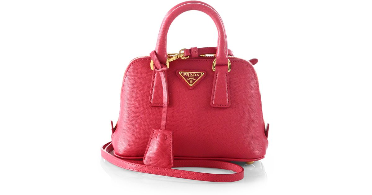 bd46893a45c1 Prada Saffiano Lux Double Handle Mini Satchel in Pink - Lyst
