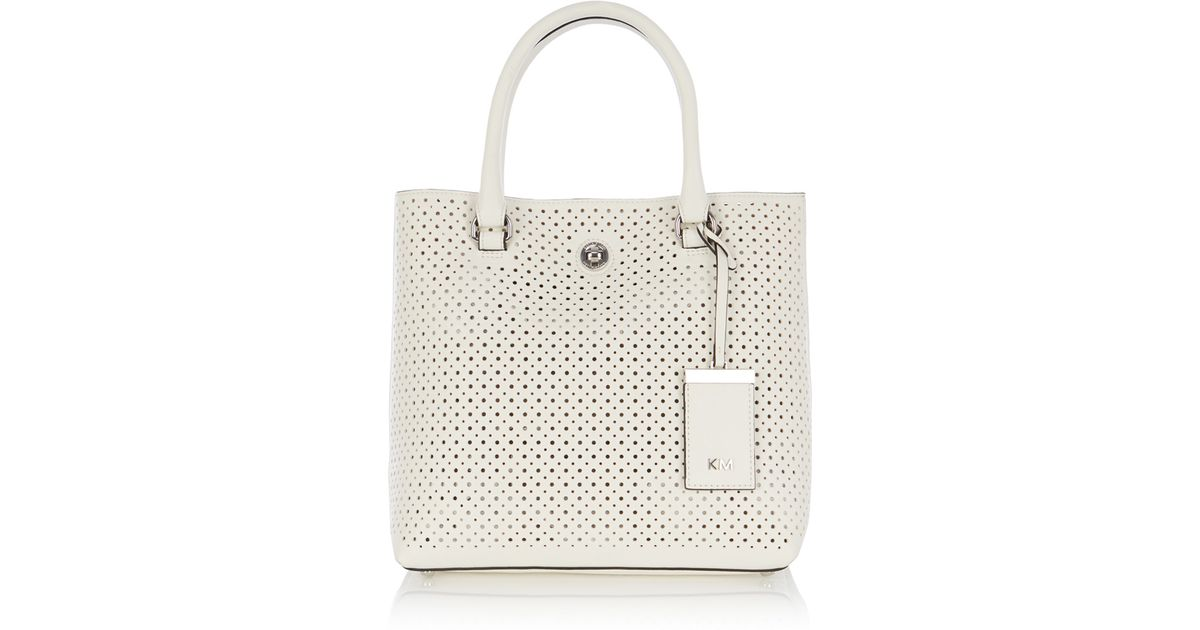 37417844199 Karen Millen Small Perforated Tote in White - Lyst