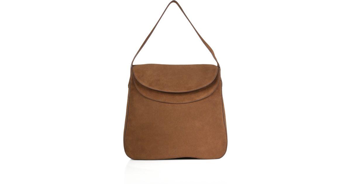 Prada Double-flap Suede Shoulder Bag in Brown (cacao) | Lyst