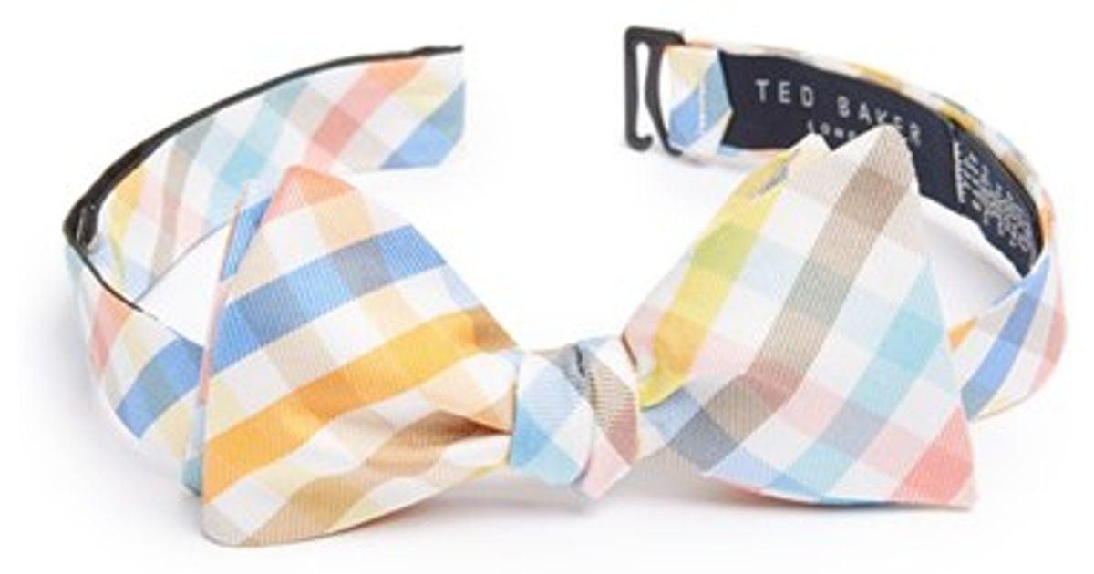 41d31812291b68 Lyst - Ted Baker Check Silk Bow Tie in Orange for Men