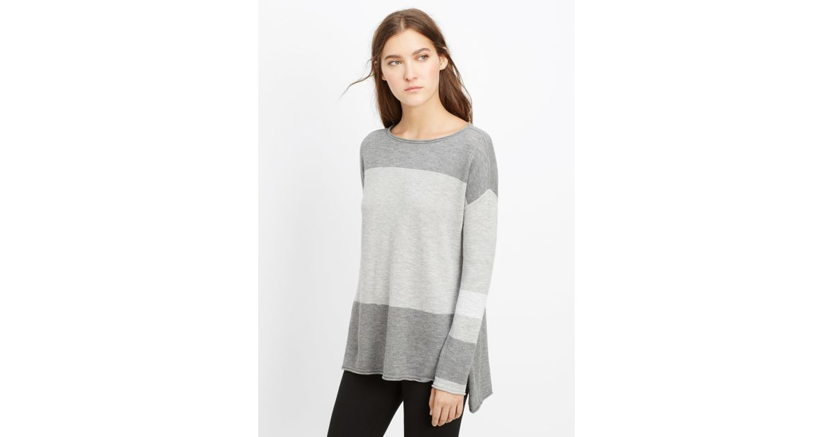 5acc224bee Vince Intarsia Colorblock Boatneck Sweater in Gray - Lyst