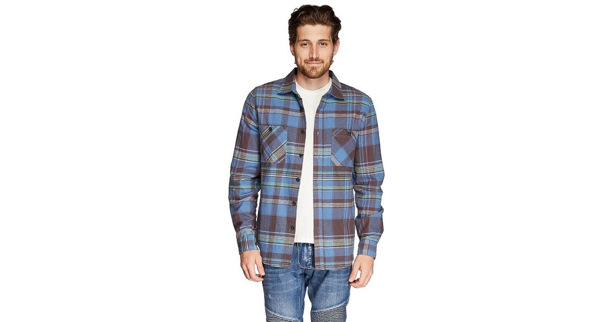 Threads for thought slim fit flannel shirt in blue for men for Mens slim fit flannel shirt