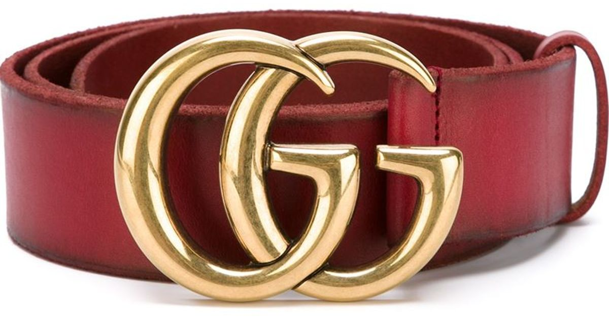 Gucci 'double G' Belt in Red | Lyst