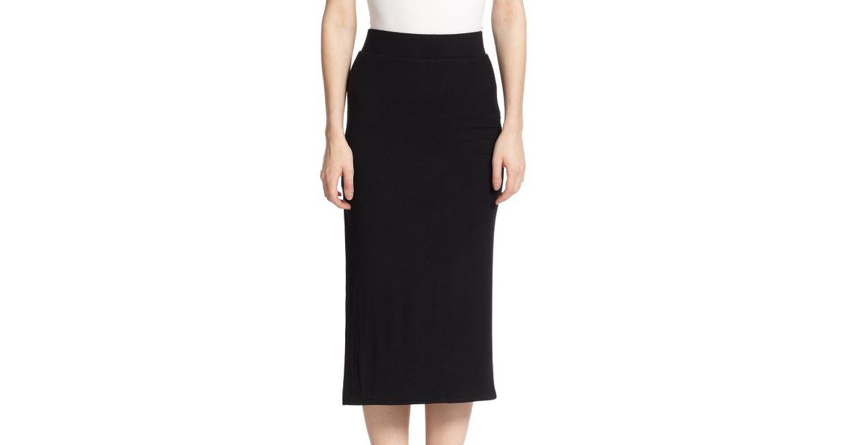 atm side slit knit midi skirt in black lyst