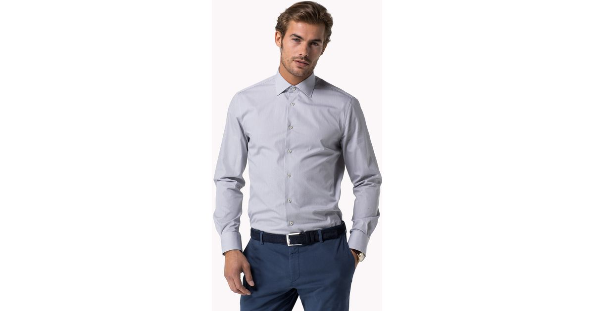 huge discount big discount exquisite style Tommy Hilfiger Johnny Fitted Shirt in Gray for Men - Lyst