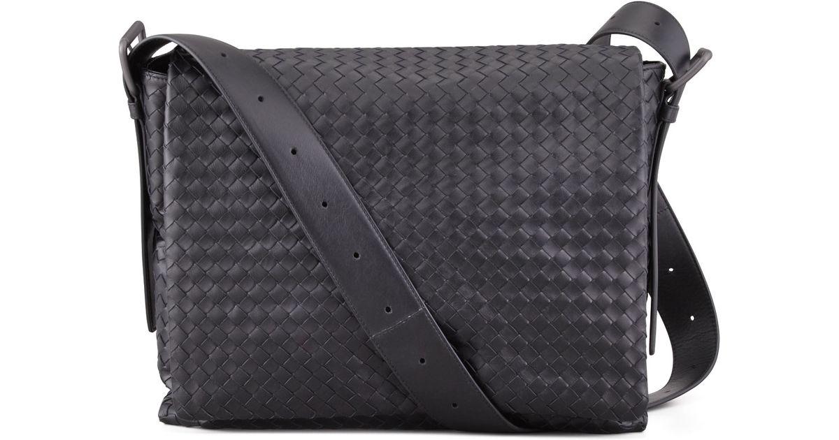 5e26b59250 Bottega Veneta Mens Woven Flap Messenger Bag in Black for Men - Lyst