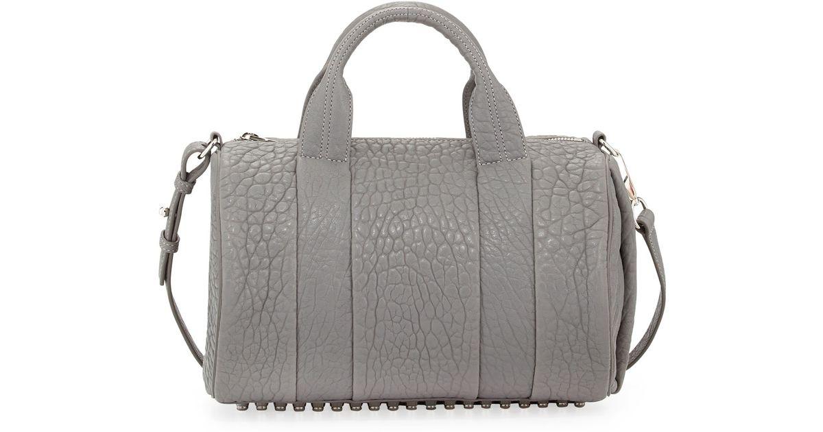 alexander wang rocco dumbo studbottom satchel bag gray in. Black Bedroom Furniture Sets. Home Design Ideas