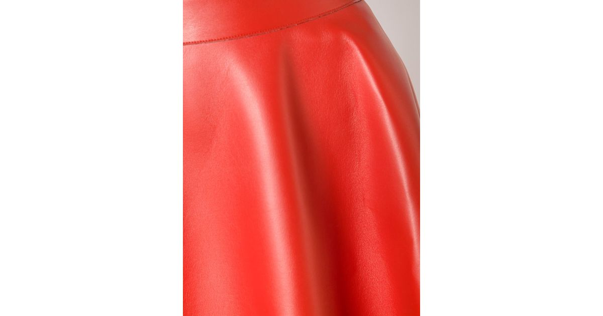 ae1c1d33dc MSGM Faux Leather Skirt in Red - Lyst